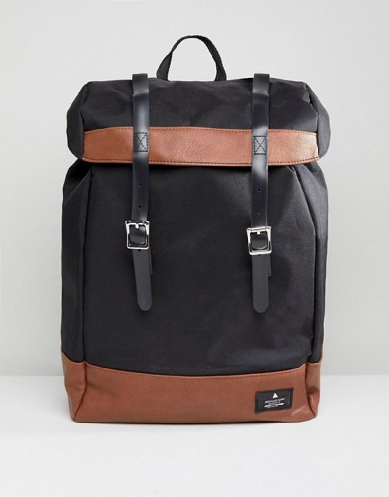 エイソス メンズ バックパック・リュックサック バッグ ASOS DESIGN Hiker Backpack In Black With Tan Faux Leather Trims Black