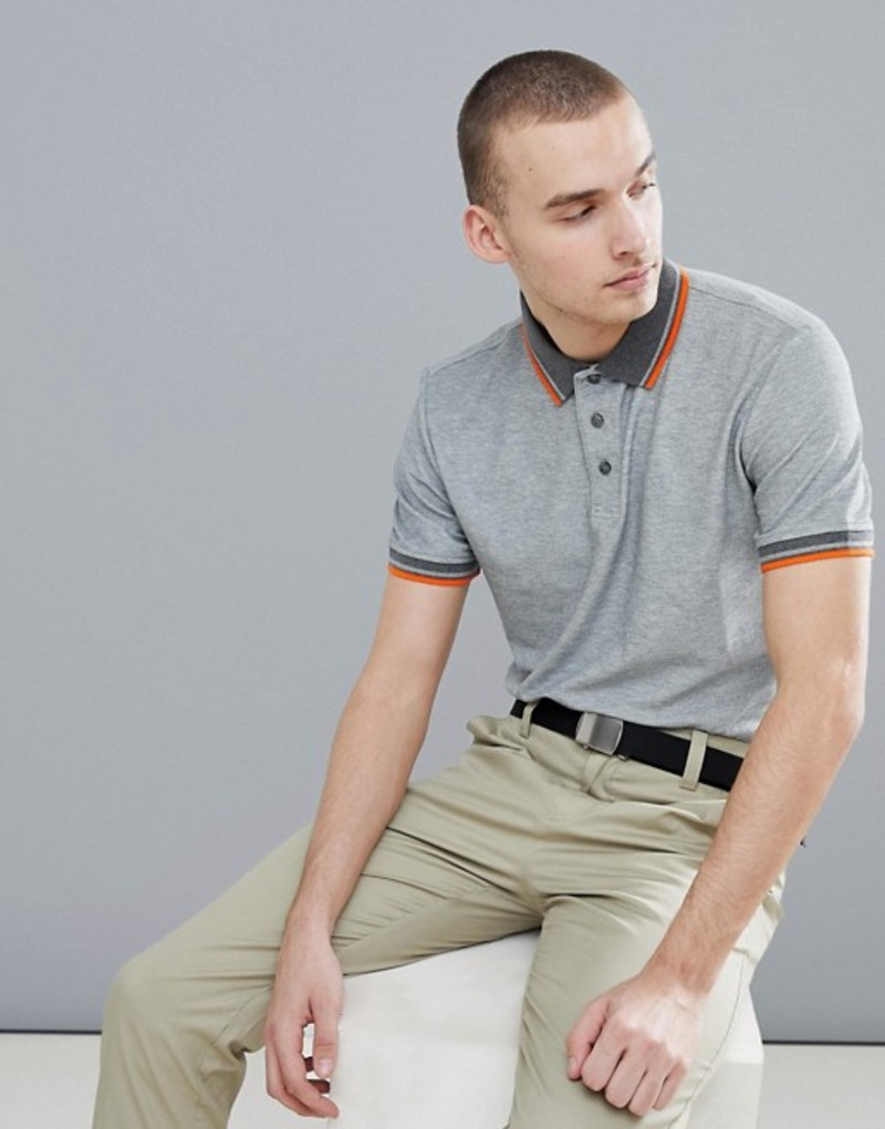 カルバンクラインゴルフ メンズ ポロシャツ トップス Calvin Klein Golf Polo with Tipped Collar In Gray C9162 Grey