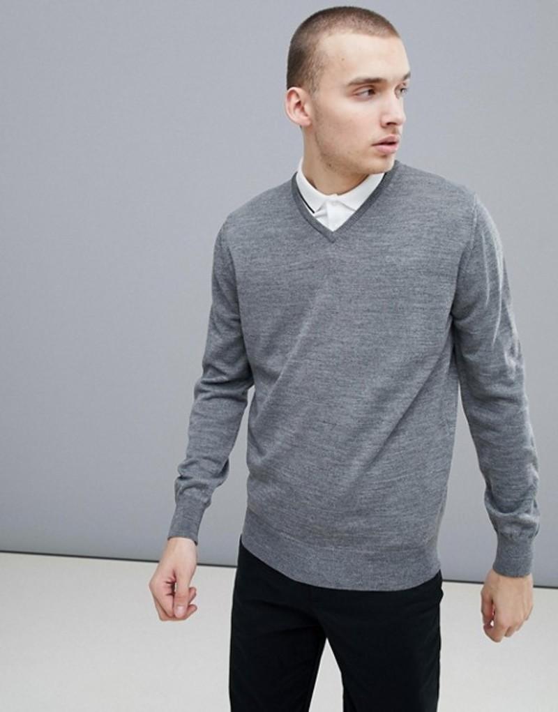 カルバンクラインゴルフ メンズ ニット・セーター アウター Calvin Klein Golf Merino Wool Knited V Neck Sweater In Gray C9145 Grey