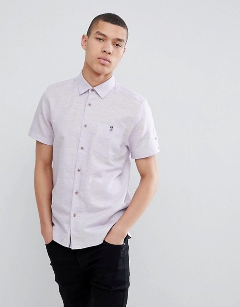 テッドベーカー メンズ シャツ トップス Ted Baker Slim Short Sleeve Linen Shirt In Lilac Purple