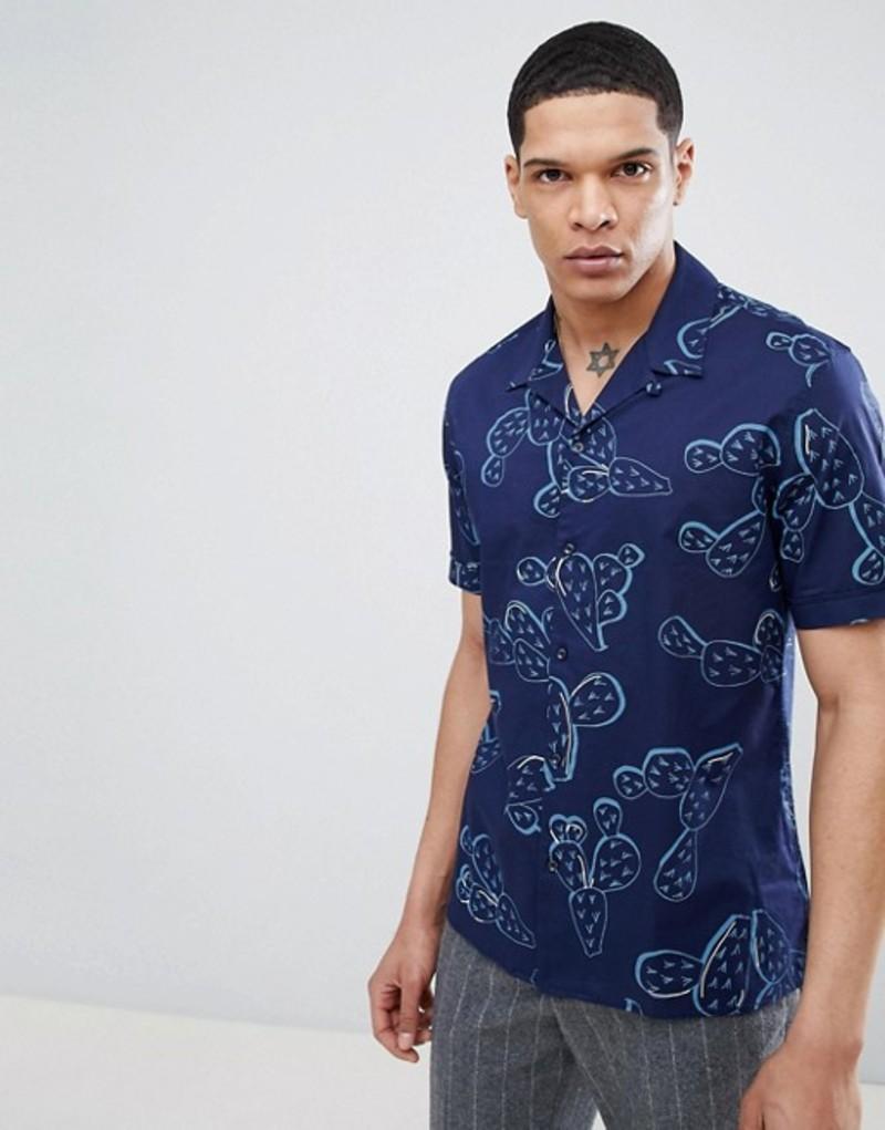 アンソニーモラート メンズ シャツ トップス Antony Morato Revere Collar Short Sleeve Shirt In Blue With Cactus Print Light blue