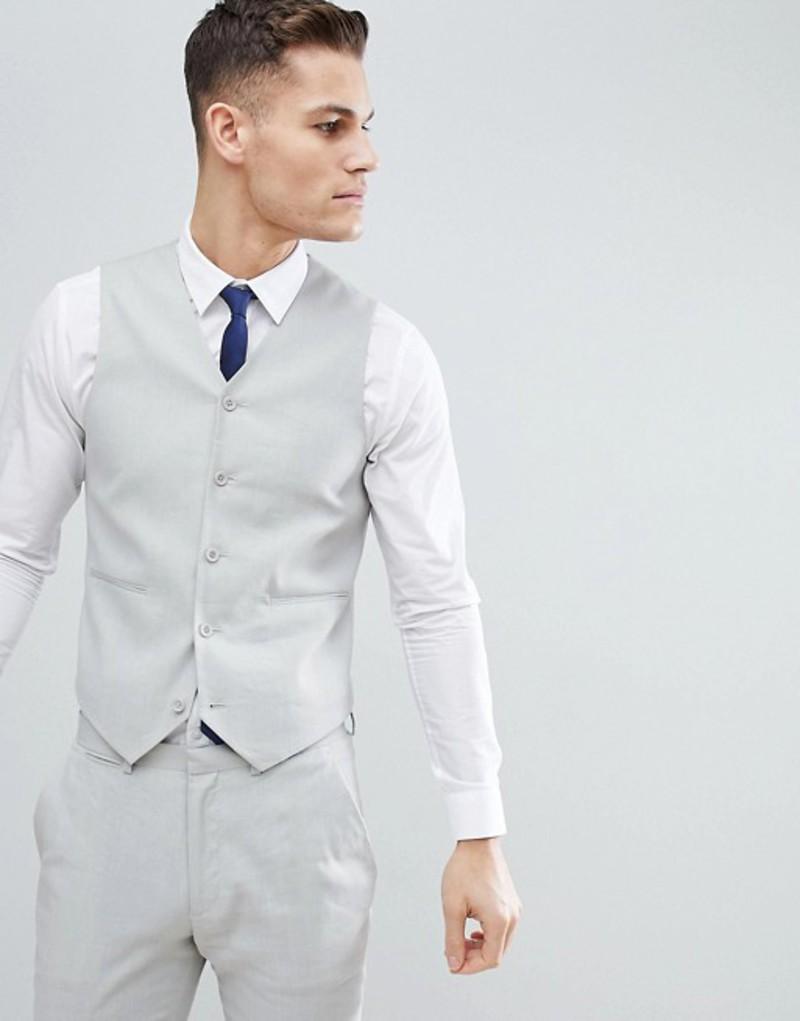 エイソス メンズ タンクトップ トップス ASOS DESIGN Wedding Super Skinny Suit Vest In Ice Gray Linen Ice grey