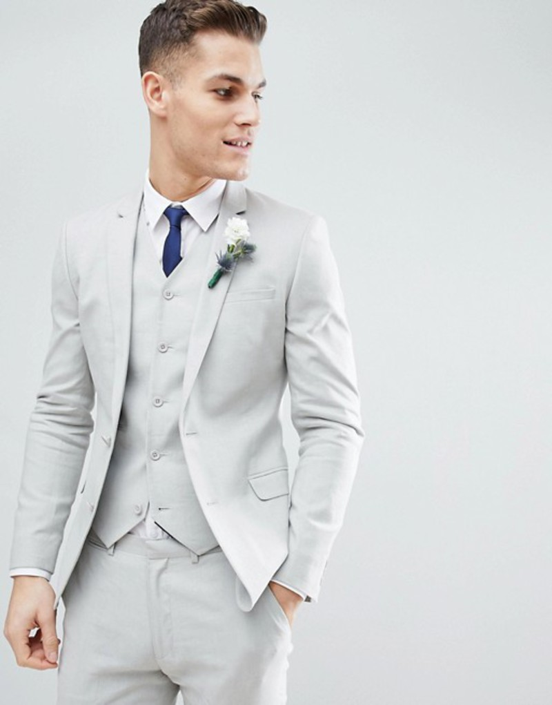エイソス メンズ ジャケット・ブルゾン アウター ASOS DESIGN Wedding Super Skinny Suit Jacket In Ice Gray Linen Ice grey