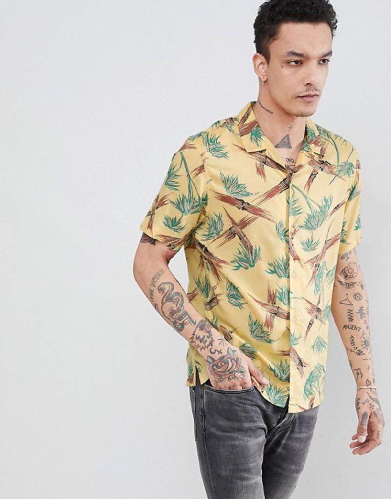 オールセインツ メンズ シャツ トップス AllSaints Short Sleeve Revere Shirt With Yellow Bamboo Print Yellow