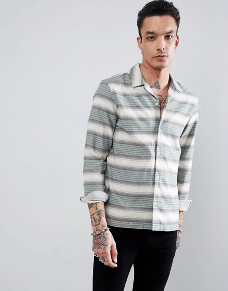 オールセインツ メンズ シャツ トップス AllSaints Long Sleeve Shirt In Green Stripe Green