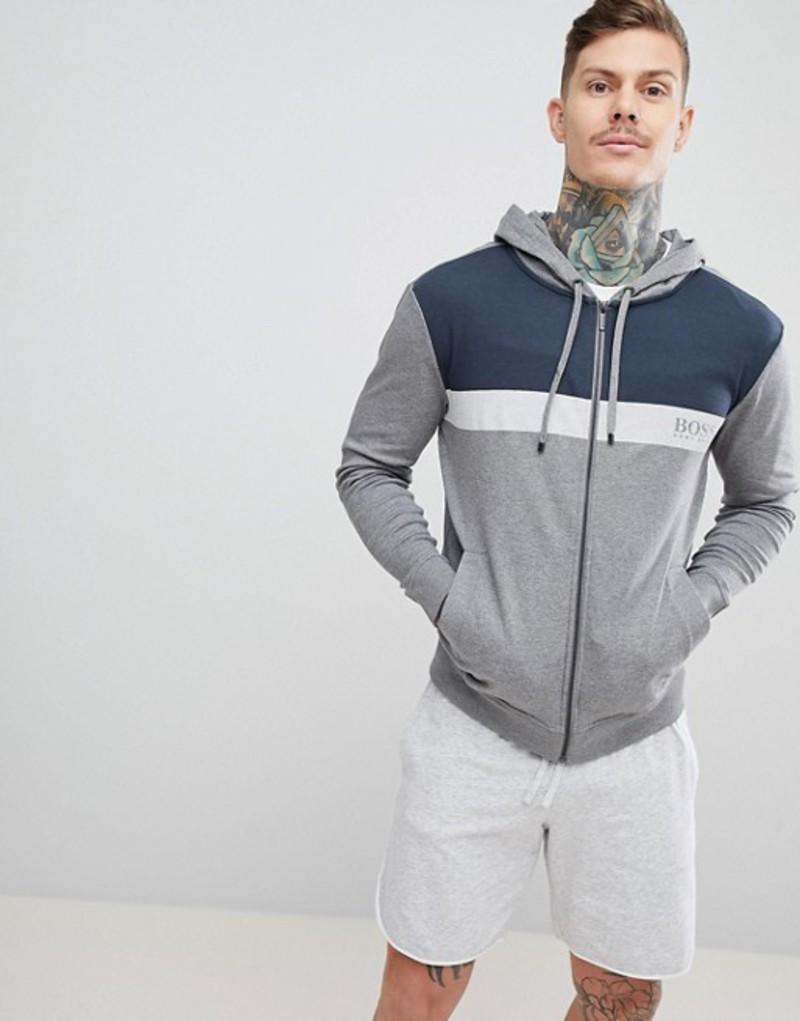 ボス メンズ パーカー・スウェット アウター BOSS Bodywear Zip-Thru Jacket With Hood Grey