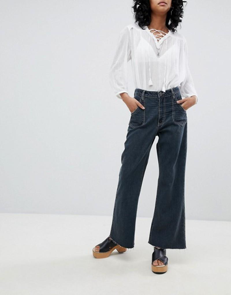 ワン ティースプーン レディース デニムパンツ ボトムス One Teaspoon High Waisted Cropped Wide Leg jean with Contrast Stitching Fox black