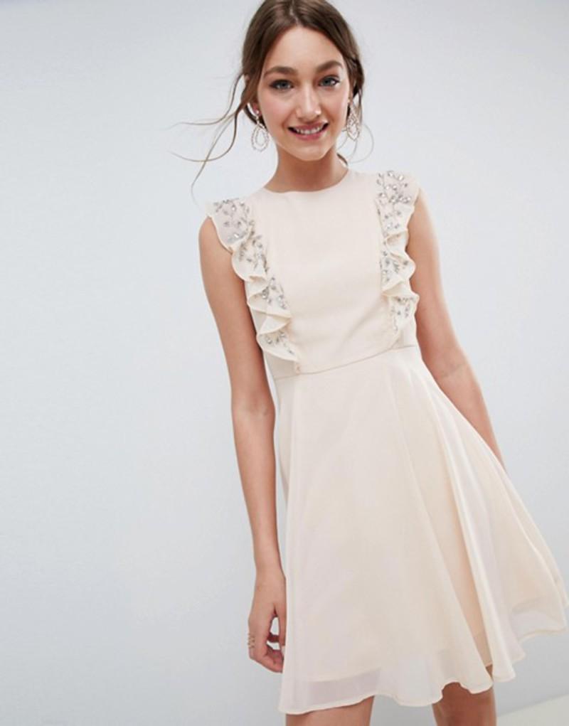 エイソス レディース ワンピース トップス ASOS DESIGN Mini Skater Dress With Embellished Frill Sleeves Nude