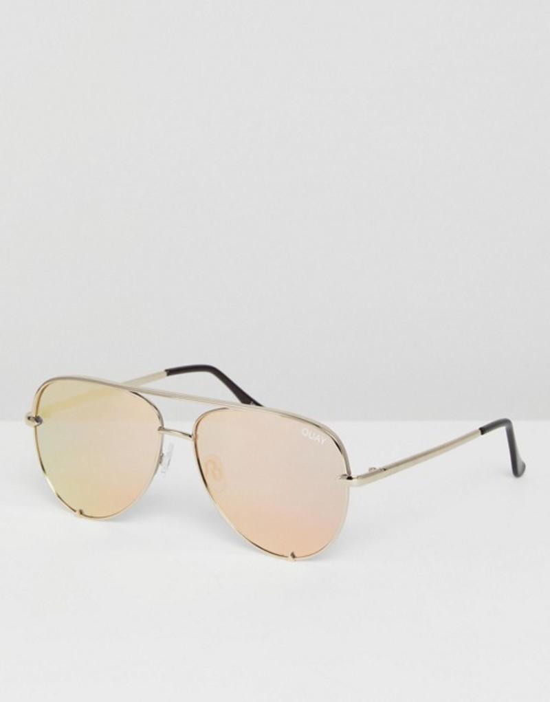 クアイオーストラリア メンズ サングラス・アイウェア アクセサリー Quay Australia X Desi High Key Mini Aviator Sunglasses In Gold Gold