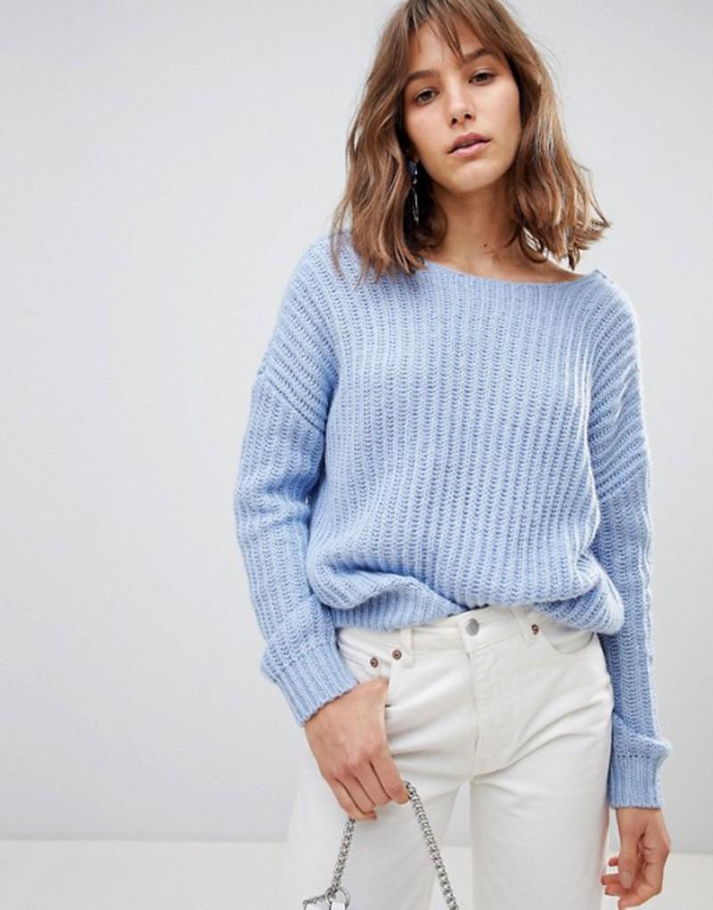 エイソス レディース ニット・セーター アウター ASOS DESIGN chunky sweater with v back Pale blue