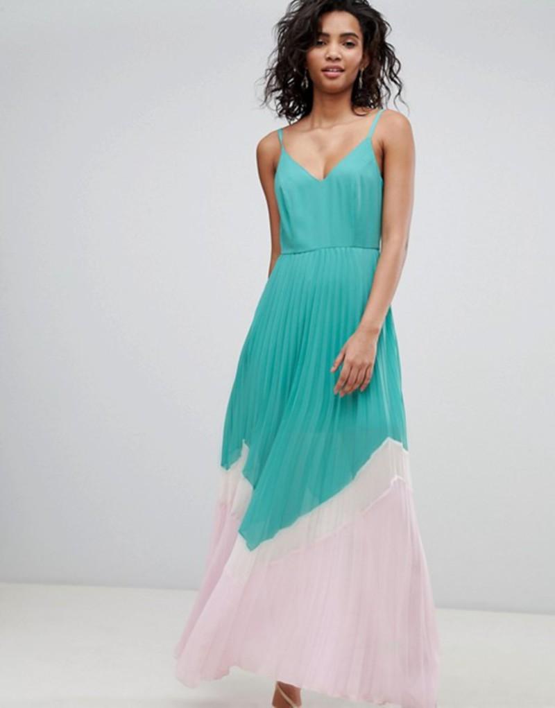 エイソス レディース ワンピース トップス ASOS DESIGN Color Block Pleated Maxi Dress Multi