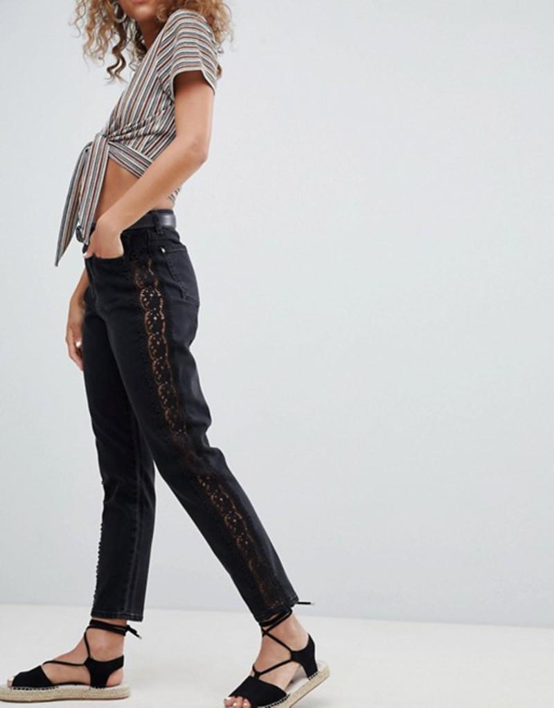 ミスセルフフリッジ レディース デニムパンツ ボトムス Miss Selfridge Crochet Side Stripe Mom Jeans Washed black