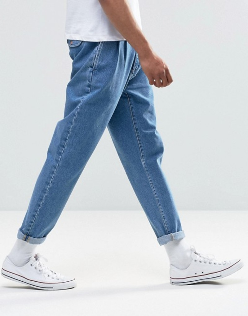 エイソス メンズ デニムパンツ ボトムス ASOS Double Pleat Straight Leg Jean In Light Blue Light blue