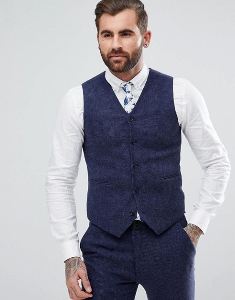 エイソス メンズ タンクトップ トップス ASOS Wedding Super Skinny Vest In Blue Micro Check Blue