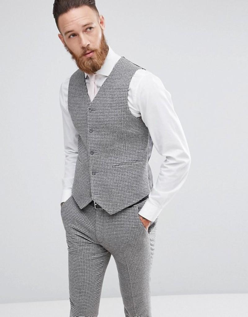 エイソス メンズ タンクトップ トップス ASOS Wedding Super Skinny Vest In Gray Houndstooth Grey