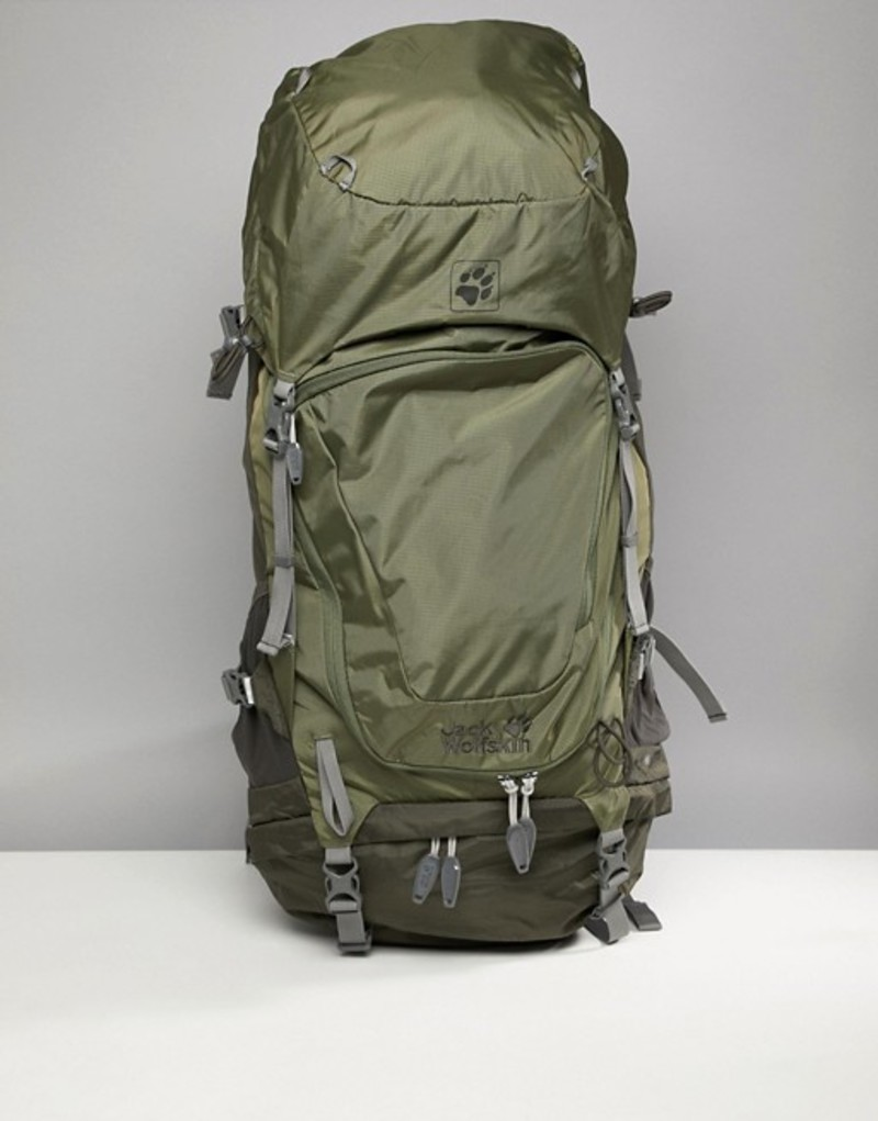 ジャックウルフスキン メンズ バックパック・リュックサック バッグ Jack Wolfskin Highland Trail XT 50 Backpack In Khaki Woodland green