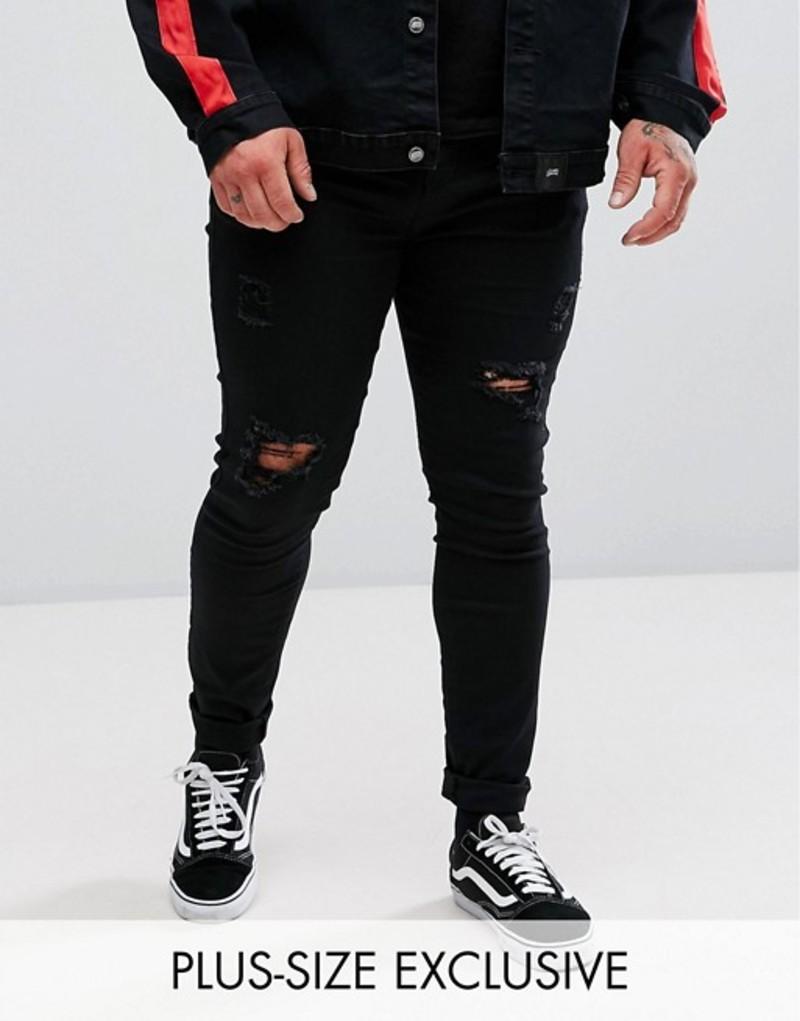 シックスジュン メンズ デニムパンツ ボトムス Sixth June PLUS Super Skinny Jeans In Black With Distressing Black