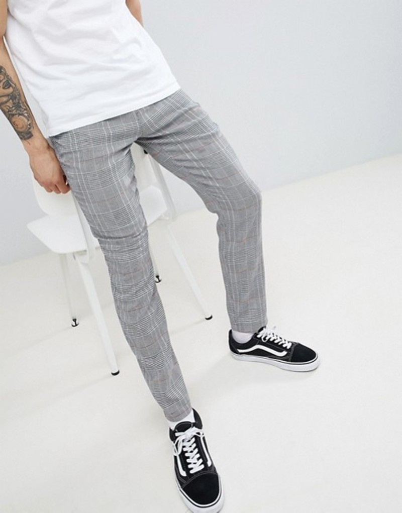 エイソス メンズ カジュアルパンツ ボトムス ASOS DESIGN Skinny Pants In Monochrome Check Black