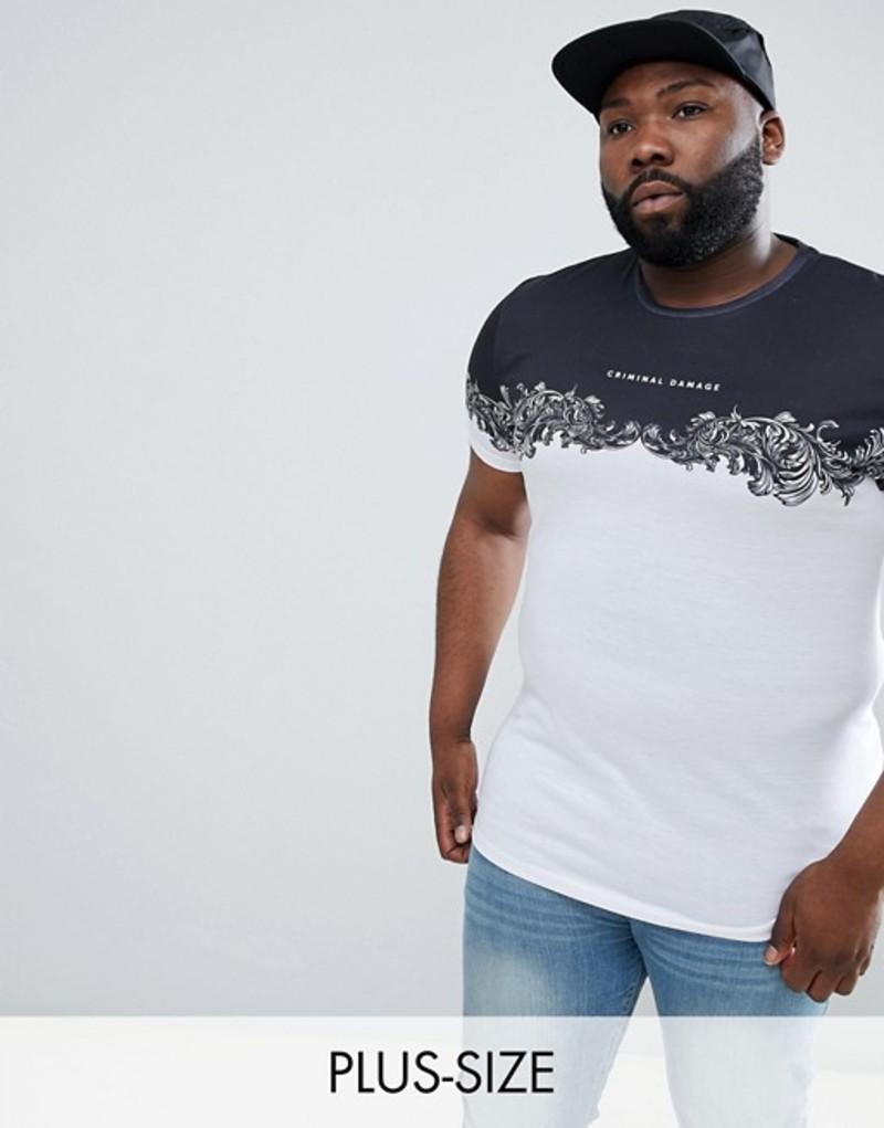 クリミナルダメージ メンズ Tシャツ トップス Criminal Damage PLUS T-Shirt In White With Baroque Panel Exclusive To ASOS White