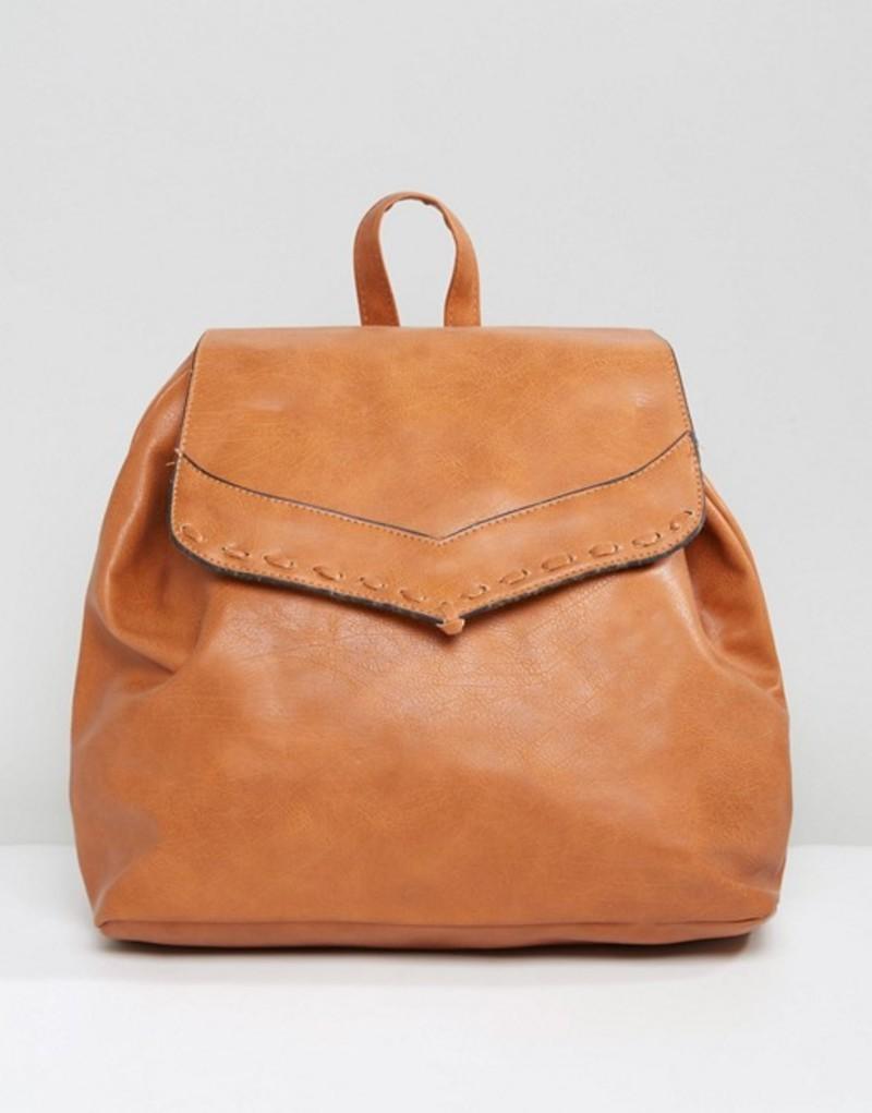 リクオリッシュ レディース バックパック・リュックサック バッグ Liquorish Drawstring Backpack with Foldover Flap Tan