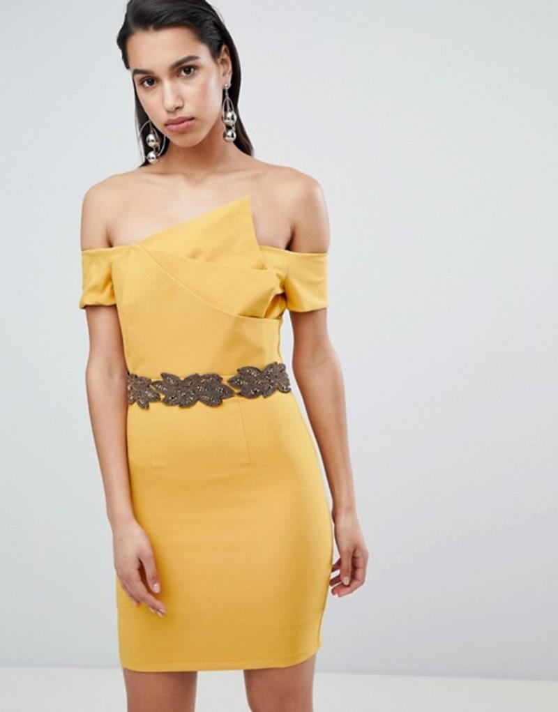 エイスサイン レディース ワンピース トップス The 8th Sign Asymmetric Pencil Dress With Emebllished Waistline Mustard