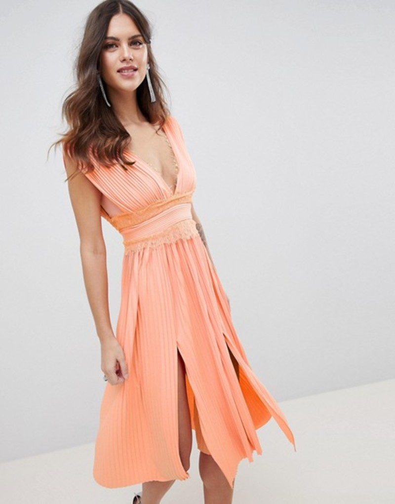 エイソス レディース ワンピース トップス ASOS DESIGN premium lace insert pleated midi dress Papaya