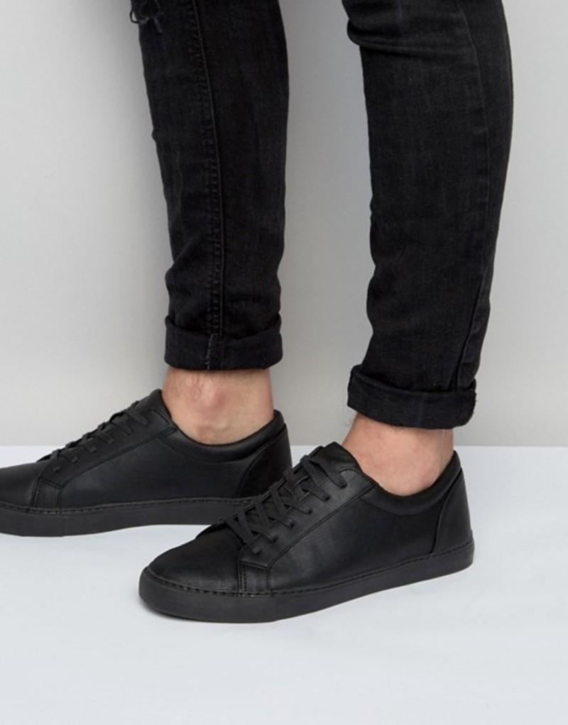 エイソス メンズ スニーカー シューズ ASOS DESIGN Vegan Sneakers In Black Black