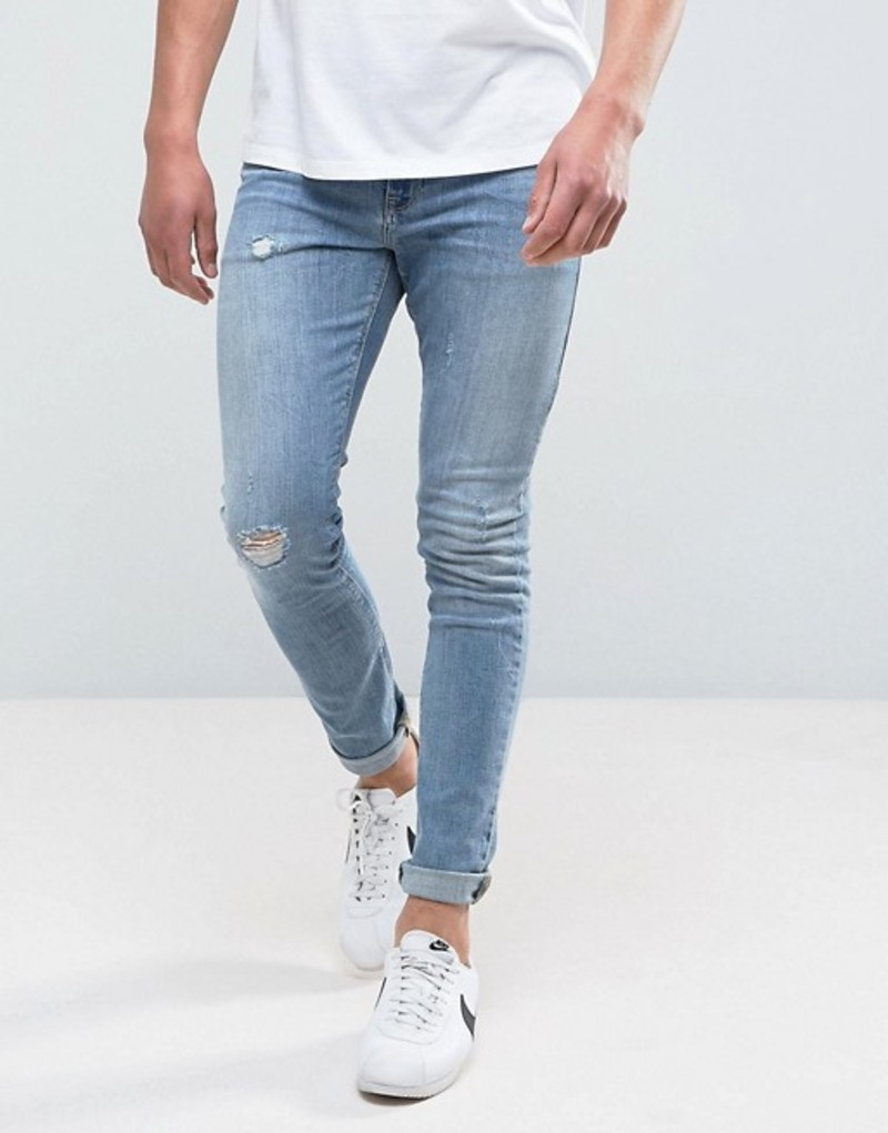 エイソス メンズ デニムパンツ ボトムス ASOS Super Skinny Jeans In Mid Wash Blue With Abrasions Mid wash blue