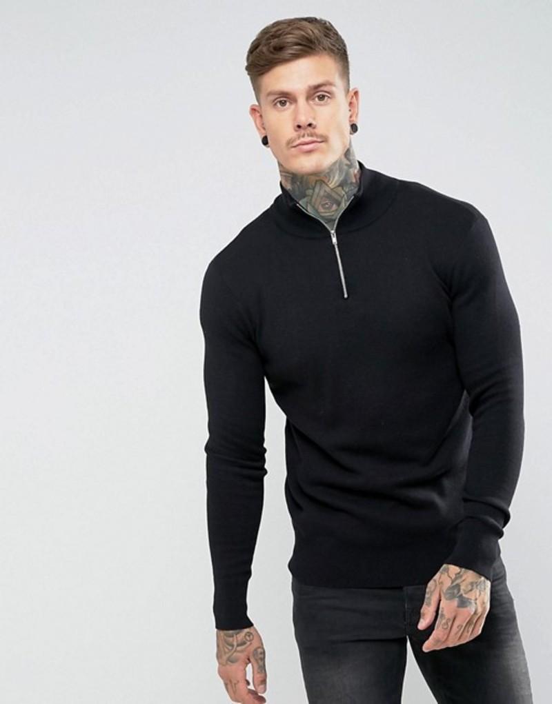 エイソス メンズ ニット・セーター アウター ASOS Midweight Half Zip Sweater In Black Black