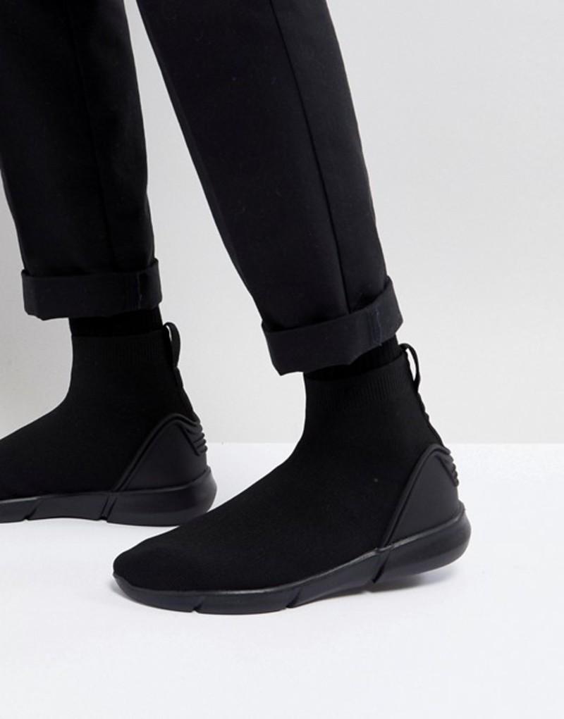 エイソス メンズ スニーカー シューズ ASOS Slip On Sock Boot Sneakers In Black Knit Black