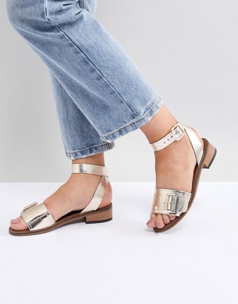 エイチ バイ ハドソン レディース サンダル シューズ H By Hudson Leather Flat Sandals Gold