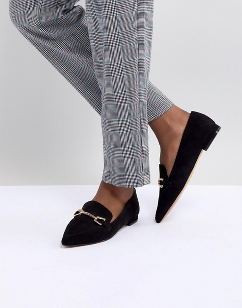 エイソス レディース パンプス シューズ ASOS DESIGN Lance Pointed Loafer Ballet Flats Black