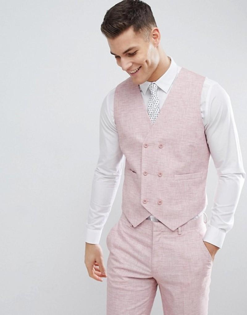 エイソス メンズ タンクトップ トップス ASOS DESIGN Wedding Skinny Suit Vest In Pink Cross Hatch With Printed Lining Pink