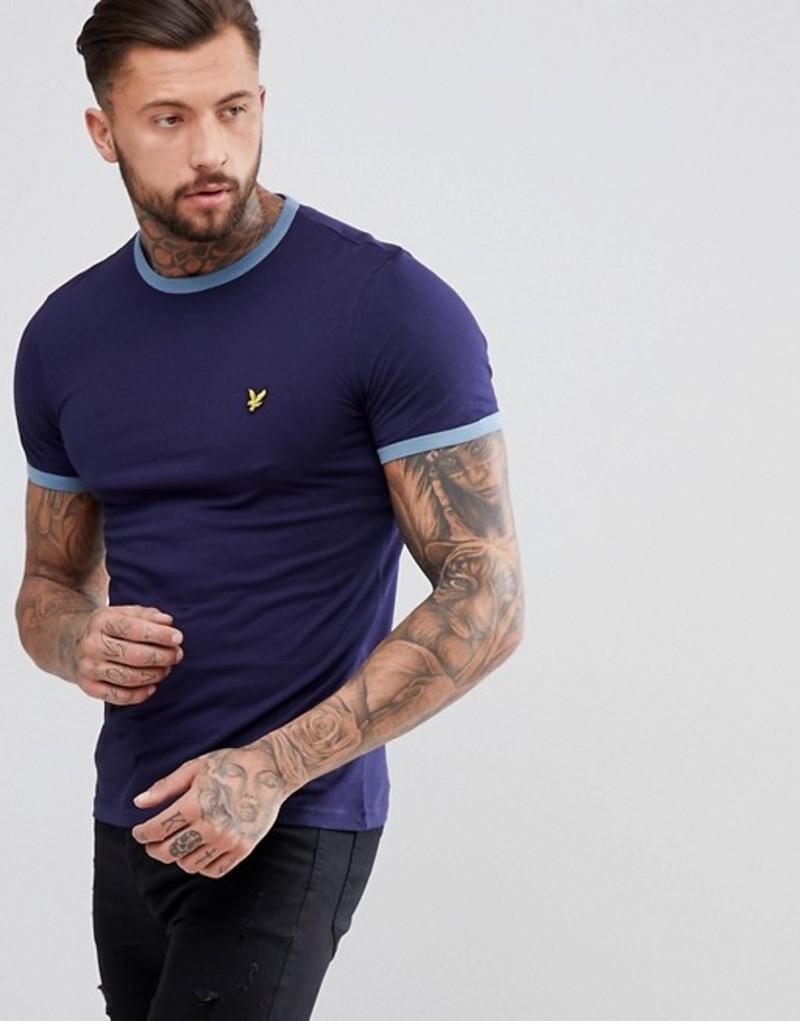 ライルアンドスコット メンズ Tシャツ トップス Lyle & Scott Ringer T-Shirt In Navy Navy