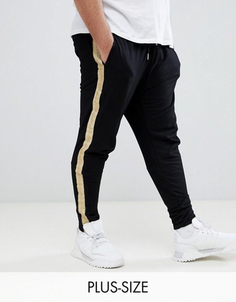 シックスジュン メンズ カジュアルパンツ ボトムス Sixth June PLUS Skinny Joggers In Black With Gold Side Stripe Black