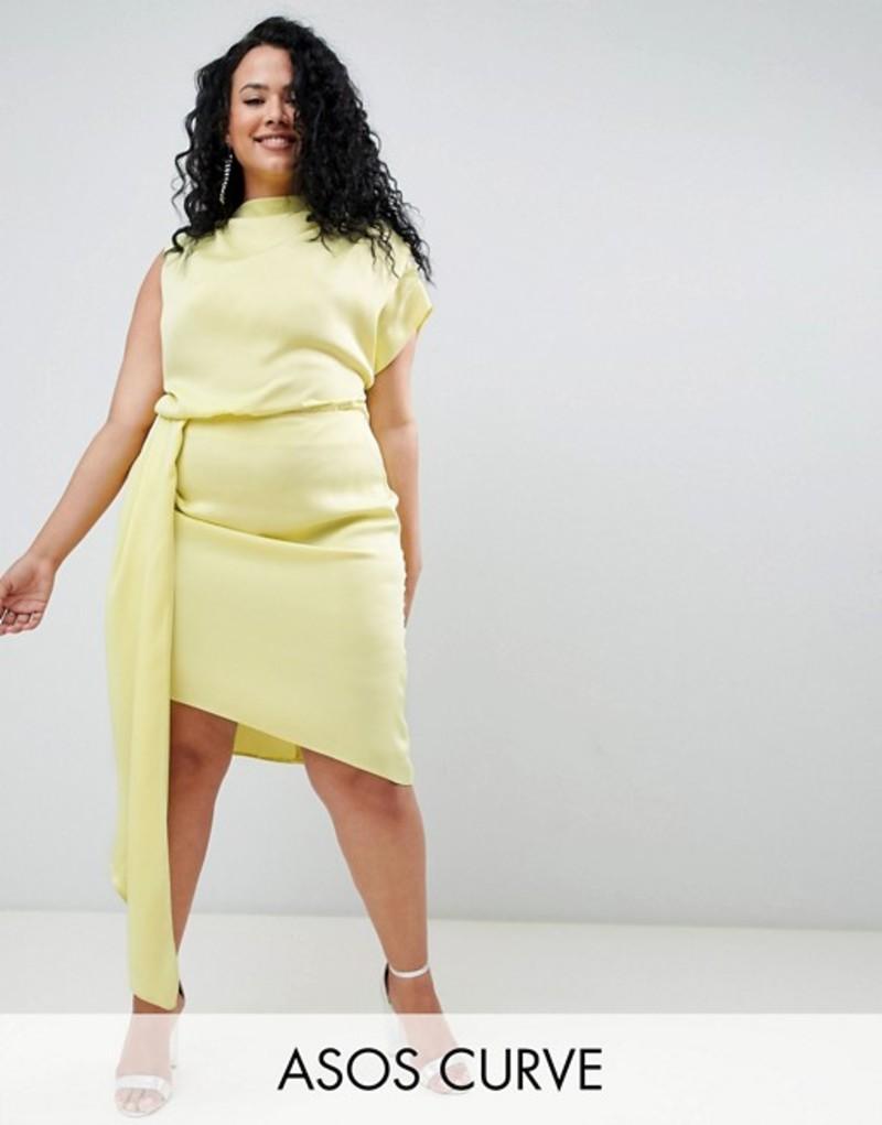 エイソス レディース ワンピース トップス ASOS DESIGN Curve Satin Midi Dress With Sash Lime