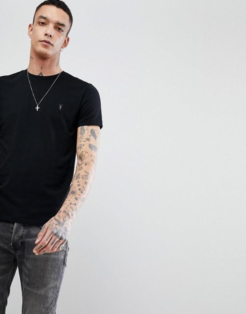 オールセインツ メンズ Tシャツ トップス AllSaints T-Shirt In Black With Logo Jet black
