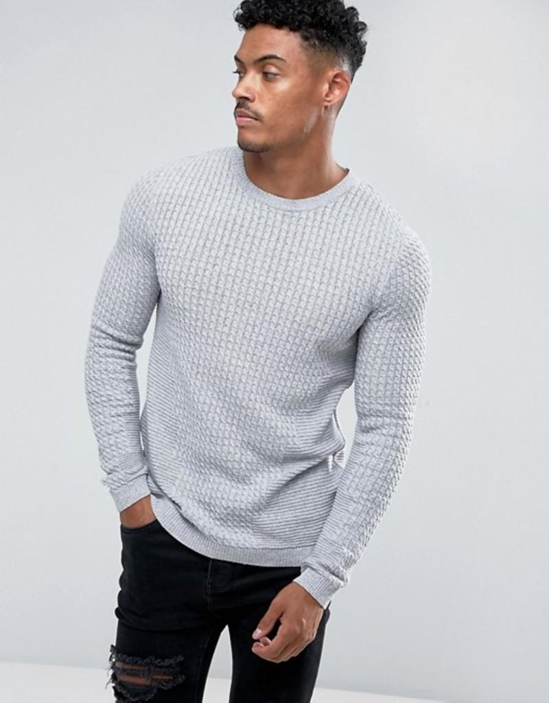 エイソス メンズ ニット・セーター アウター ASOS Muscle Fit Lightweight Cable Sweater In Gray Grey