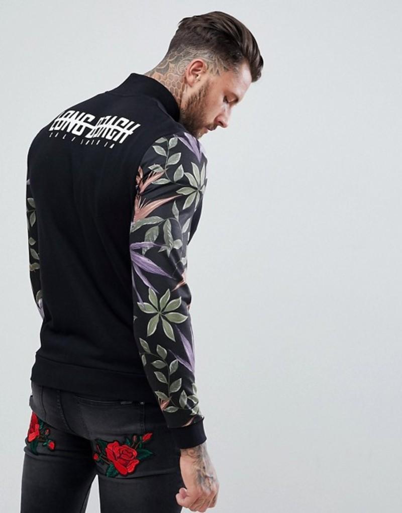 エイソス メンズ ジャケット・ブルゾン アウター ASOS Jersey Jacket With Floral Sleeve Print & Back Text Print Black