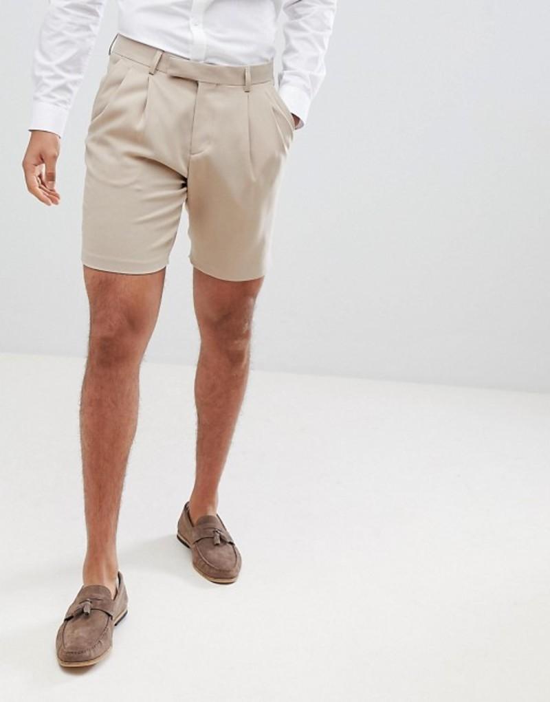 エイソス メンズ ハーフパンツ・ショーツ ボトムス ASOS DESIGN crepe pleat front tapered smart short in tan Beige