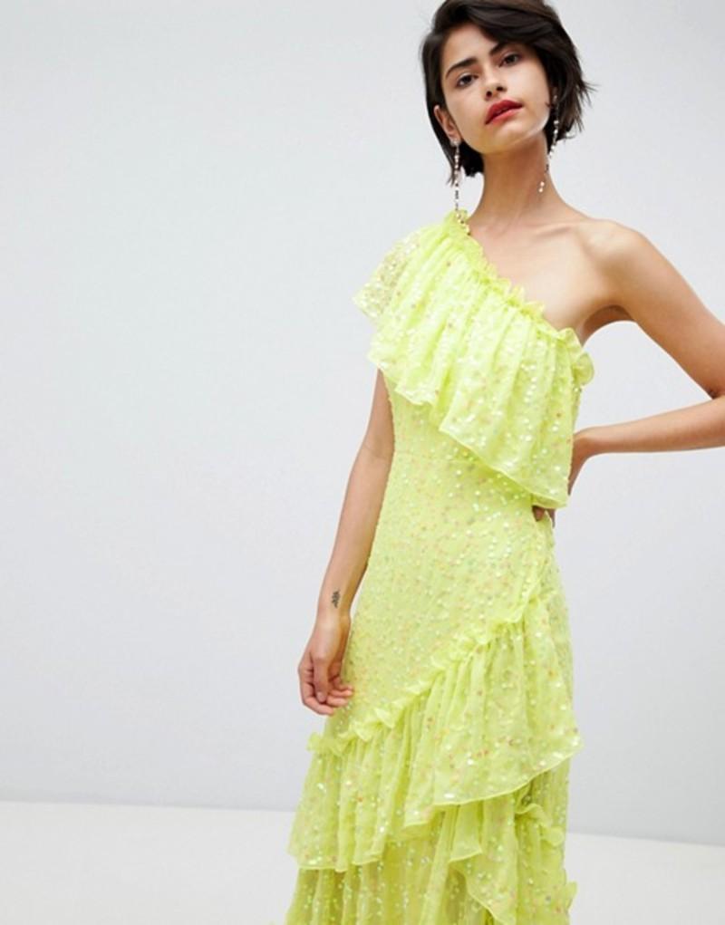エイソス レディース ワンピース トップス ASOS DESIGN ruffle midaxi dress in sequin Lime