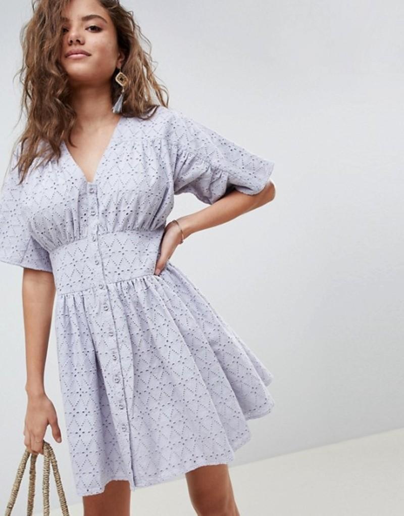 エイソス レディース ワンピース トップス ASOS DESIGN broderie casual tea dress Pale blue