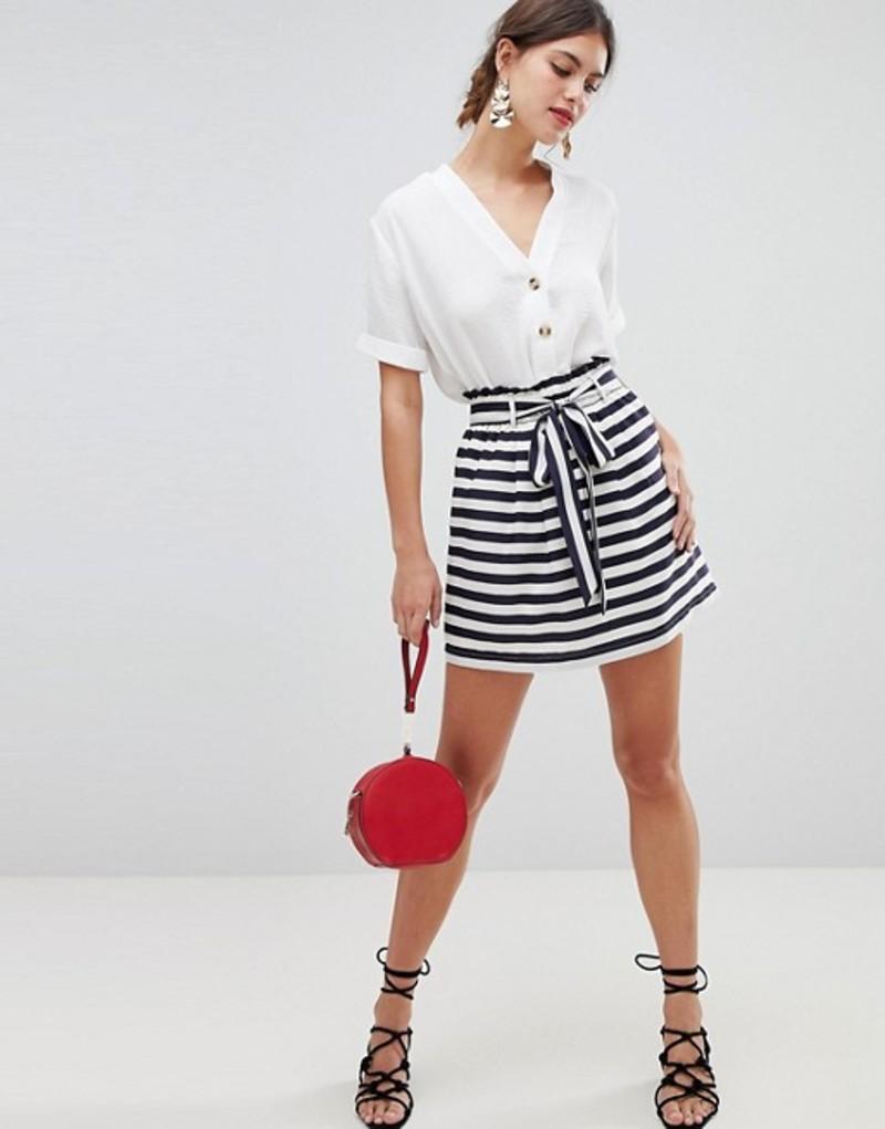 オアシス レディース スカート ボトムス Oasis skirt with Paperbag and tie waist detail Multi blue
