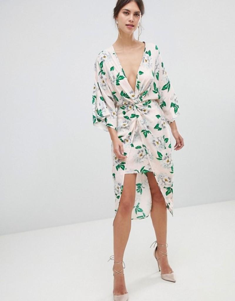 エイソス レディース ワンピース トップス ASOS DESIGN pretty floral satin kimono midi dress Floral jacquard