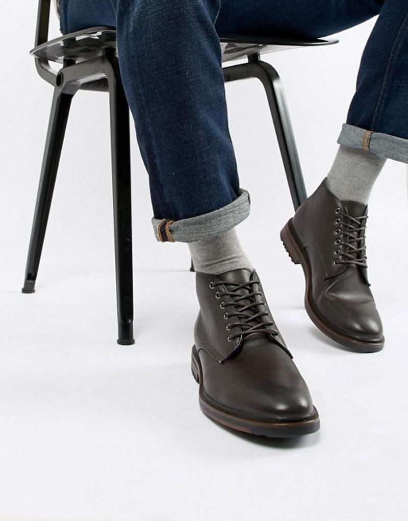 ニュールック メンズ ブーツ・レインブーツ シューズ New Look Smart Hiker Boot Dark brown