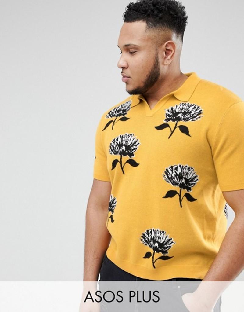 エイソス メンズ ポロシャツ トップス ASOS DESIGN Plus Knitted Revere Collar Polo In Mustard With Floral Jacquard Mustard