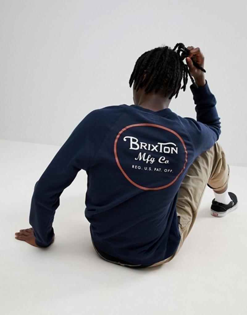 ブリクストン メンズ パーカー・スウェット アウター Brixton Wheeler Sweathshirt With Back Print In Navy Navy