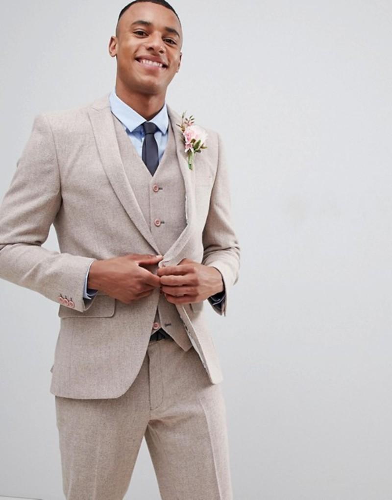 エイソス メンズ ジャケット・ブルゾン アウター ASOS DESIGN Wedding Skinny Suit Jacket In Dusky Pink Herringbone Pink