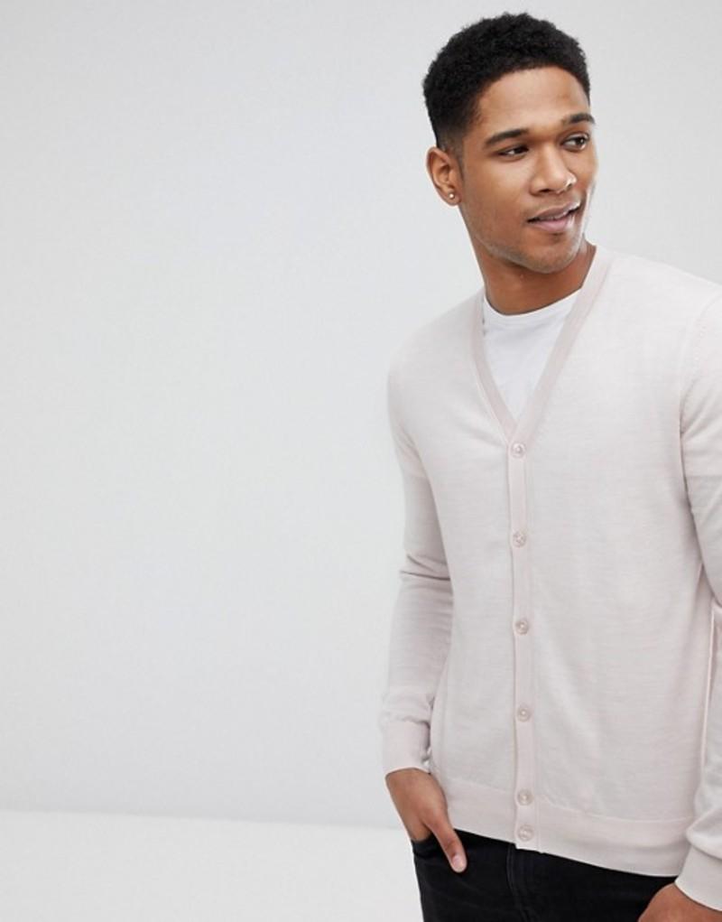 レイス メンズ カーディガン アウター Reiss 100% Merino Wool Cardigan Oatmeal