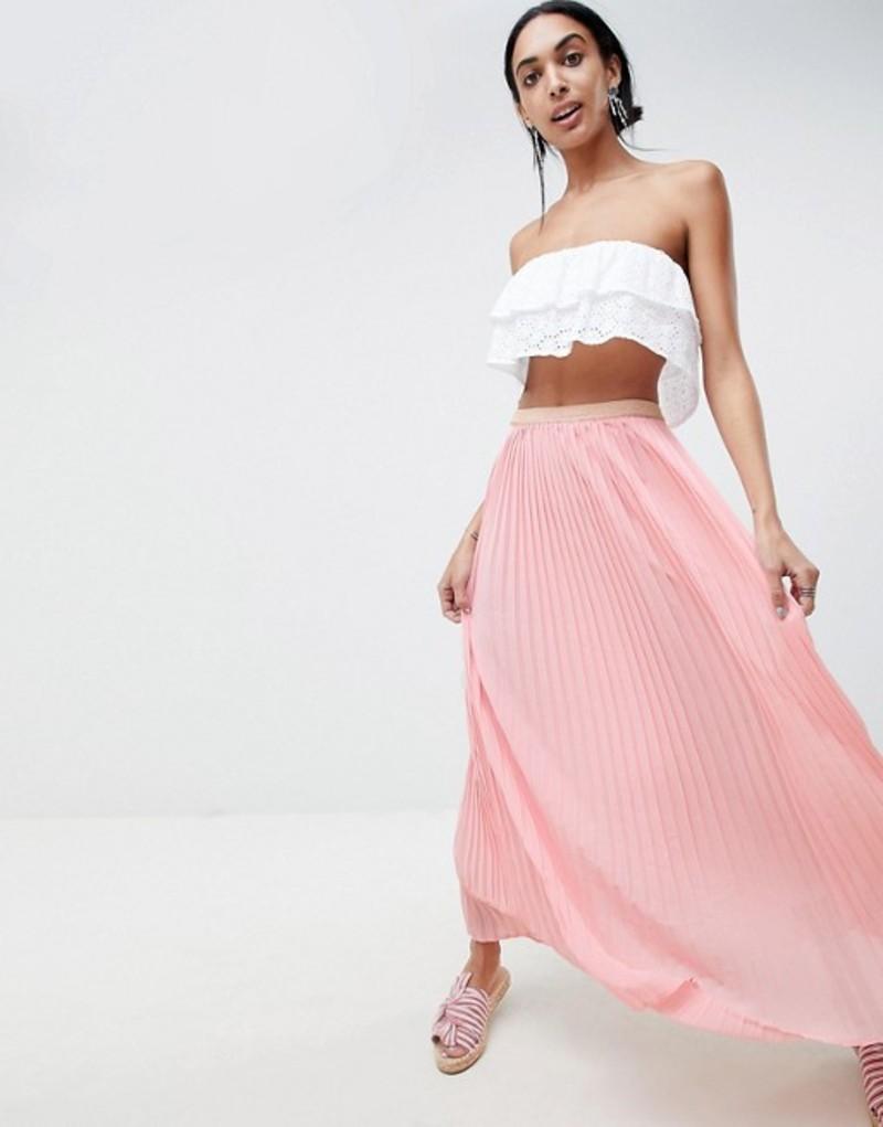 ビーヤング レディース スカート ボトムス b.Young Maxi Skirt Rose pearl